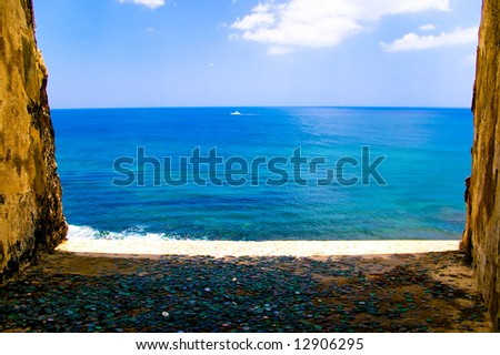 view from a spanish fort, coins for wishes - stock photo