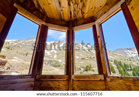 View from a the Front Window of a House at Animas Forks Ghost Town at Silverton, Colorado - stock photo