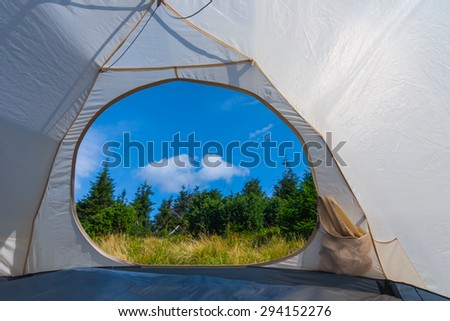 view from a touristic tent - stock photo