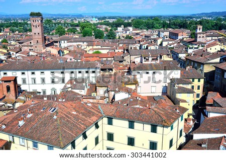 view from above of Lucca (Tuscany, Italy)