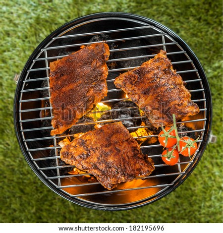 View from above of three delicious seasoned racks of rib grilling over a BBQ fire in a portable round metal barbecue on green grass - stock photo
