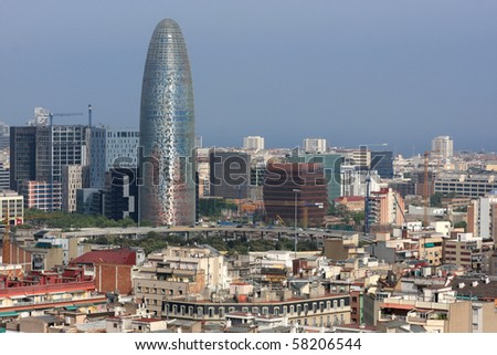 View from above on downtown of Barcelona