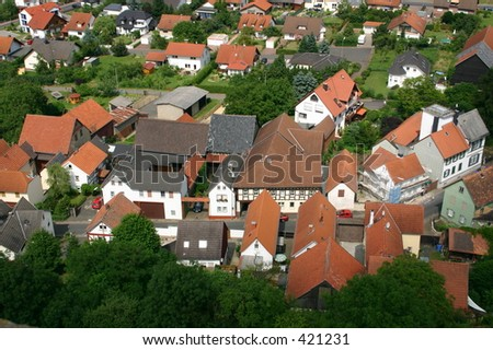 View from above onto german village