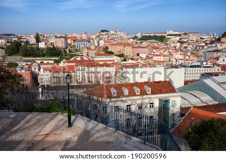 View from above over the city of Lisbon in Portugal. - stock photo