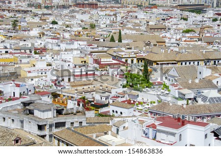 View from above over the Seville, capital city of Andalusia region in Spain.  - stock photo