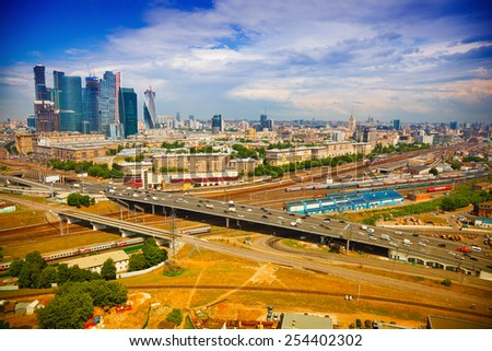 View from above to Moscow - Business Center Moscow City, roads, architecture. Life of the big city - stock photo