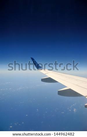 View from airplane with wing