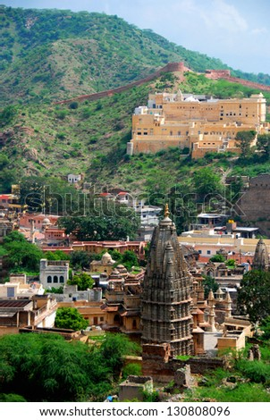 View from Amber Fort, Jaipur, Rajasthan, India - stock photo