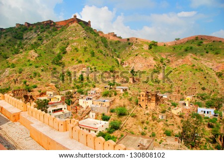 View from Amber Fort, Jaipur Rajasthan India - stock photo
