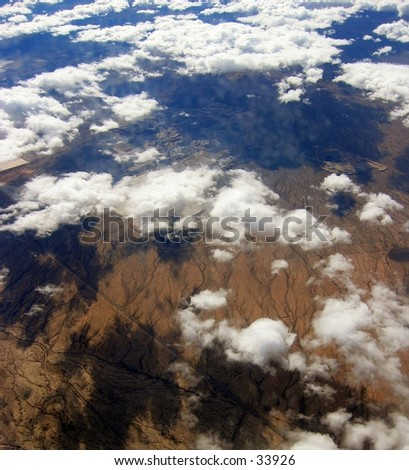 View from an airplane over Mexico - stock photo