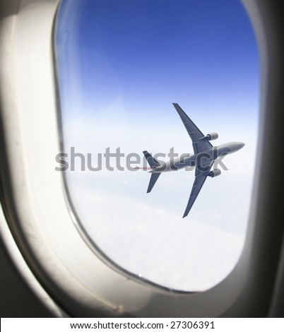 View from an airplane window - stock photo