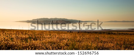 View from Antelope Island at sunset - stock photo