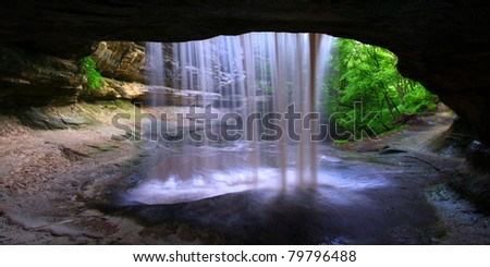 View from behind Lasalle Falls of Starved Rock State Park in central Illinois - stock photo
