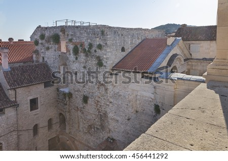 View from bell tower  to the vestibule of Diocletians palace in Split, Croatia