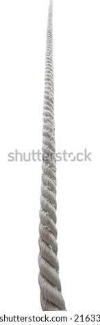 view from below of textile rope isolated on white background