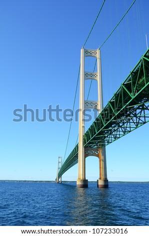 View From Below the Mackinac Bridge in Michigan - stock photo