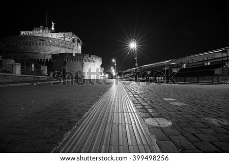 View from below with wide angle Castel Sant'Angelo. Rome at night - stock photo