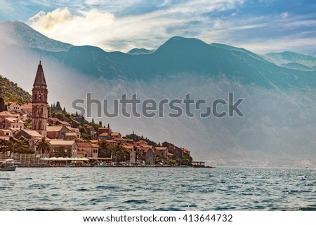 View from boat on Perast, Kotor Bay, Montenegro. - stock photo