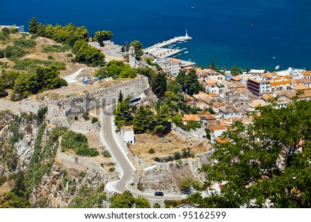 view from Bourtzi castle in Nafplion, Greece - stock photo