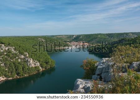 View from bridge Krka, near Skradin  - stock photo