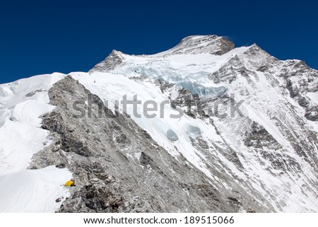 View from Camp 1 on Cho Oyu up to the summit