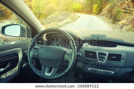 View from car inside. Concept and idea - stock photo
