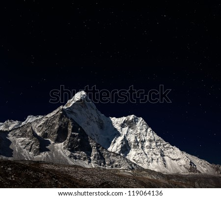 View from Chhukhung of Ama Dablam (6814 m) at night - Everest region, Nepal, Himalayas - stock photo