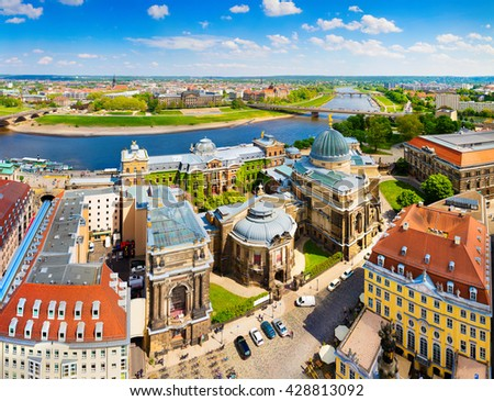 View from Church of Our Lady (Frauenkirche) of the Elbe river and Dresden town. Sunny spring scene in Saxony, Germany, Europe. Artistic style post processed photo. - stock photo
