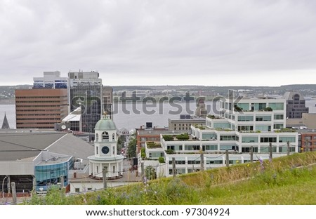 view from Citadel Hill towards the Halifax Harbour, Nova Scotia Canada - stock photo