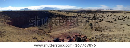 View from Citadel in Wupatki National Monument in Arizona - stock photo