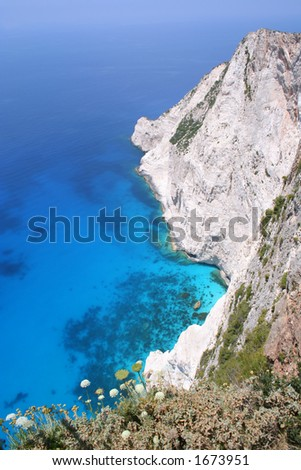 View from clifftop restaurant at Kampi, west coast of Zante (Zakynthos)