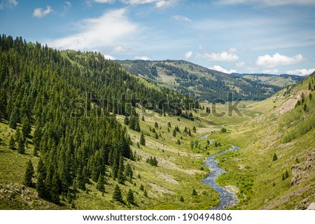 View From Cumbres and Toltec, Railroad,  Southern Colorado - stock photo