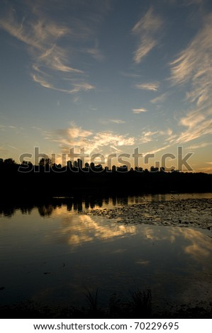 View from Deer Lake Park of Metrotown area of  Burnaby, British Columbia, Canada - stock photo