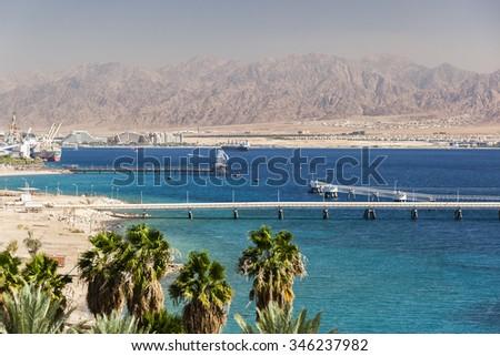 View from Eilat south district towards Aqaba in Jordan, Eilat. Israel - stock photo