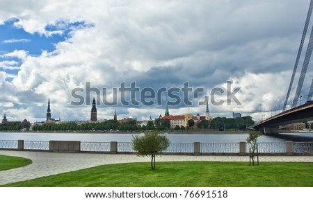View from embankment of the Daugava river on the old city of Riga, Latvia - stock photo