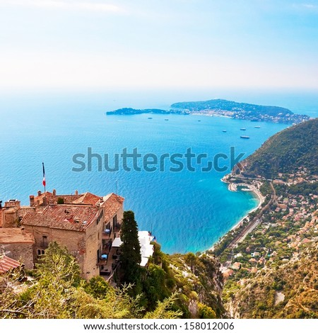 View from Eze in France to Nice, Monaco and other french villages - stock photo