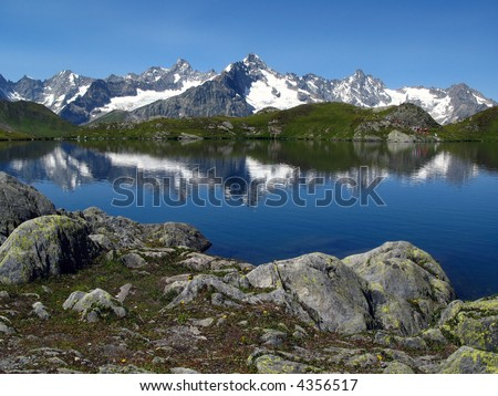 View from Fenetre Lakes, Swiss Ferret Valley, European Alps 07 - stock photo