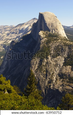 View from Glacier Point in Yosemite National Park in California. - stock photo