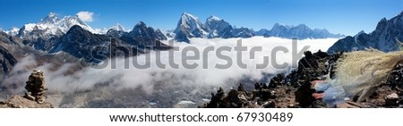 view from gokyo ri to everest - stock photo
