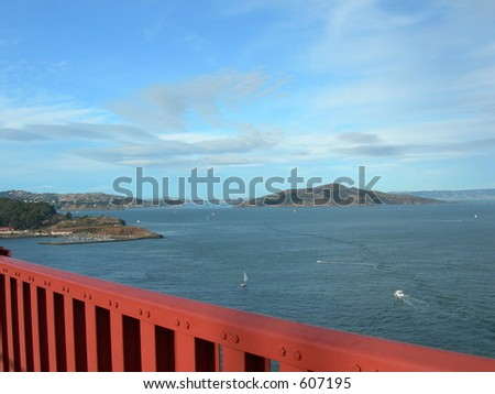 View from Golden Gate Bridge in San Francisco - stock photo