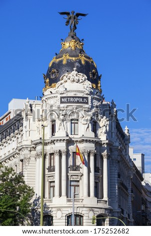 view from Gran Via, main shopping street in Madrid, capital of Spain, Europe.  - stock photo