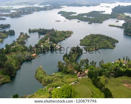View from Guatape rock, Antioquia (Colombia) - stock photo