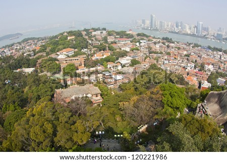 View from Gulangyu Island, Xiamen, China. - stock photo