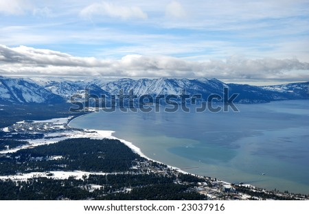 view from Heavenly ski resort on South Lake Tahoe in winter - stock photo