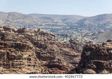 View from High Place of Sacrifice towards Umm Sayhun. Petra. Jordan.  - stock photo