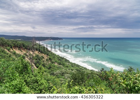 View from high to the beautiful beach and forest - stock photo