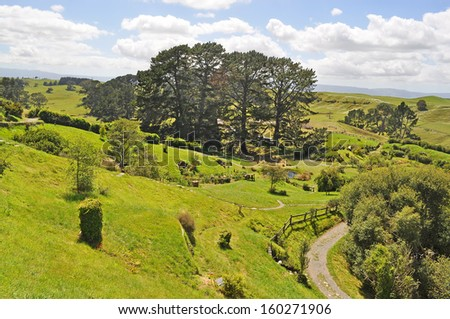 View from hill of hobbiton village, Shire , New Zealand - stock photo
