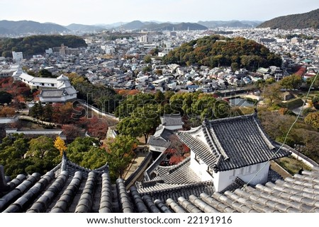 View from Himeji Castle, Japan - stock photo