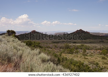 View from Hop Valley on Kolob mountain in Southern Utah with puffy white clouds in the sky and pale green sand sage in the foreground - stock photo