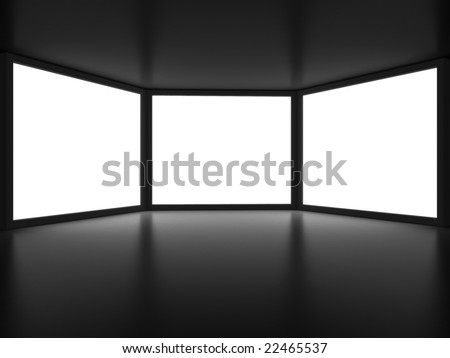 View from inside of dark room on three white window like embrasures. For other similar images from the series, please, check my portfolio. - stock photo